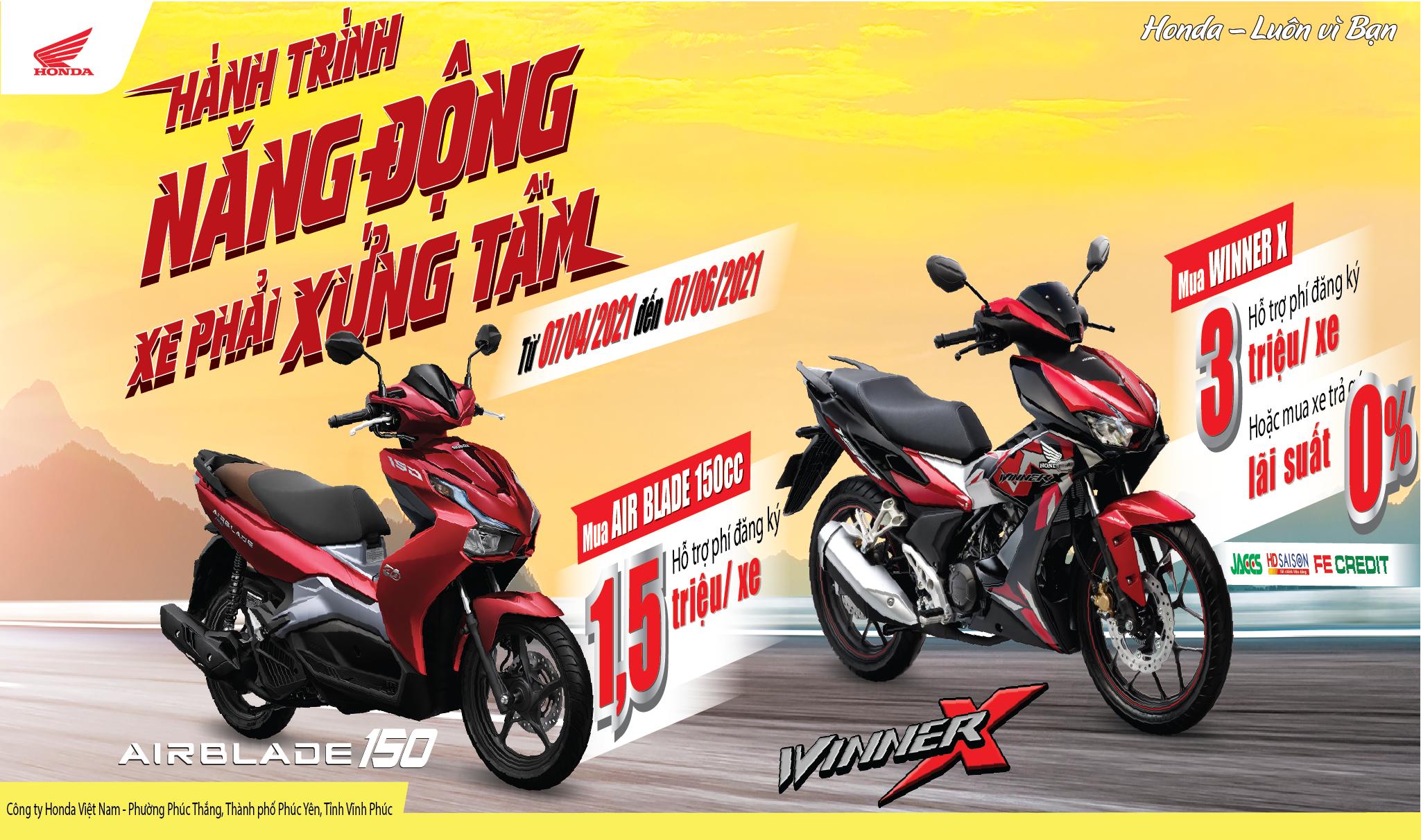 """Honda Việt Nam dành ưu đãi hấp dẫn cho khách hàng mua xe WINNER X & Air Blade 150cc – """"Hành trình năng động, Xe phải xứng tầm"""""""